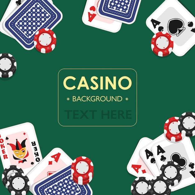 Kasino-spielkarte-grün-hintergrund-design. Premium Vektoren