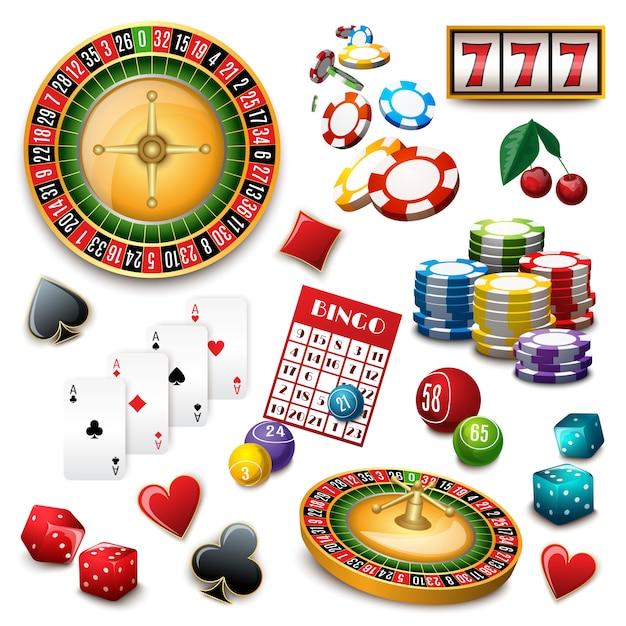 Kasino-symbolsatzzusammensetzungsplakat Kostenlosen Vektoren