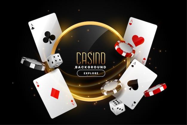 Kasinohintergrund mit spielkartechips und -würfeln Kostenlosen Vektoren