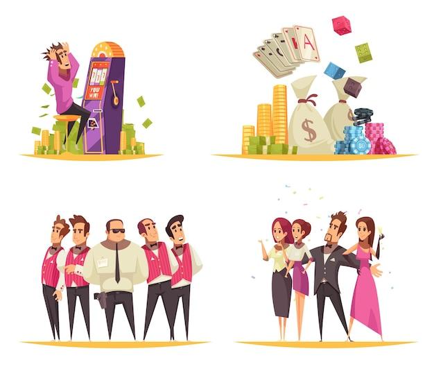 Kasinokonzept mit karikaturartzusammensetzungen von spielautomatkarten und von münzenbildern mit leuten Kostenlosen Vektoren