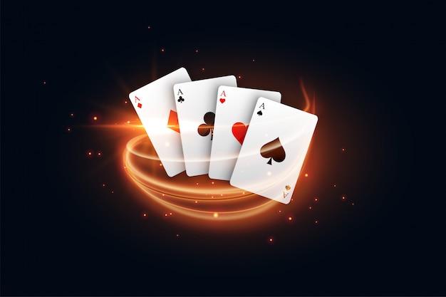 Kasinospielkarte mit goldenem hellem streifen Kostenlosen Vektoren