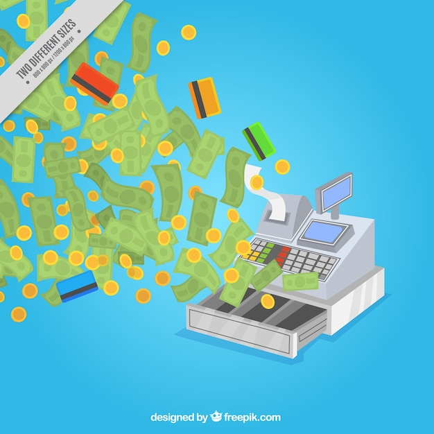 Kassen hintergrund mit geld und kreditkarten Kostenlosen Vektoren