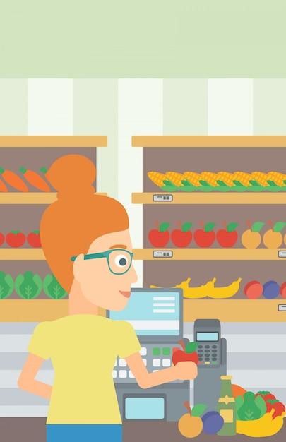 Kassierer an der supermarktkasse. Premium Vektoren