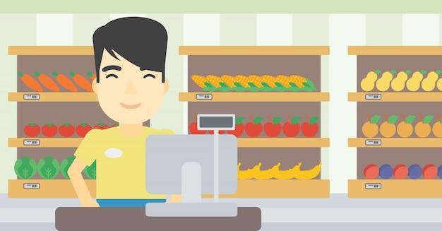 Kassierer, der an der kasse im supermarkt steht. Premium Vektoren