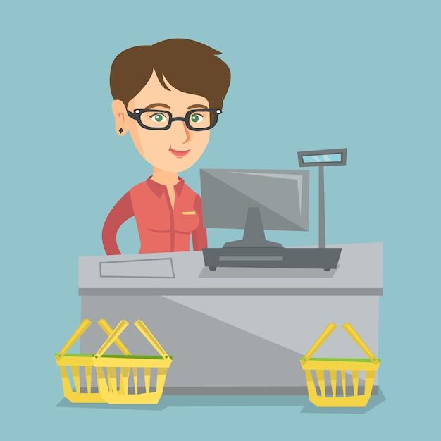 Kassierer, der an der kasse in einem supermarkt steht. Premium Vektoren