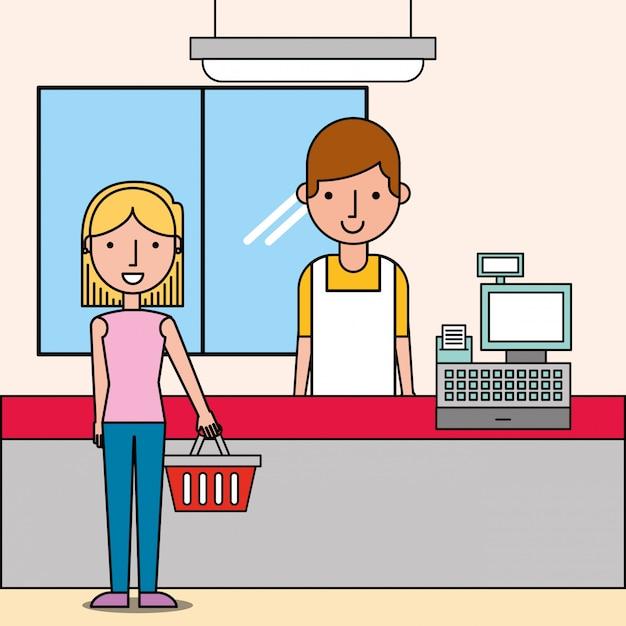 Kassierer nächsten registrierkasse und kundin hält einkaufskorb Kostenlosen Vektoren
