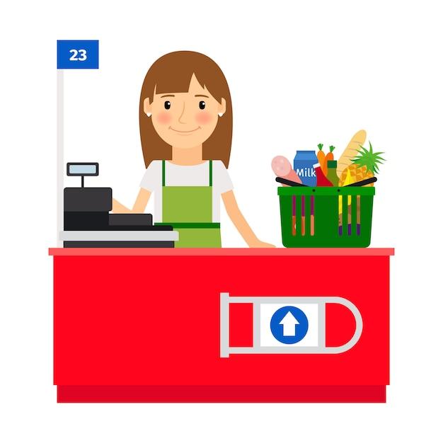 Kassiererin an ihrem arbeitsplatz. lebensmittelgeschäft verkäufer mit registrierkasse maschine. vektor-illustration Premium Vektoren