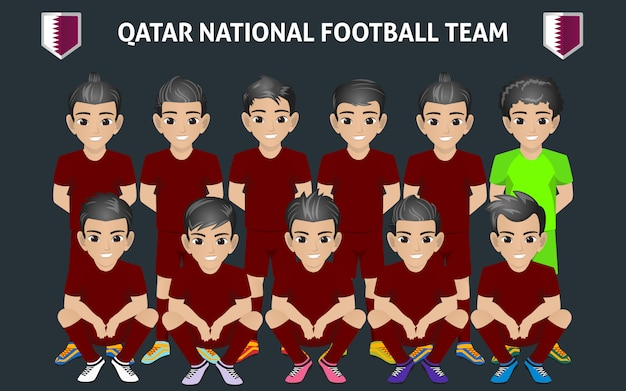 Katar fußballnationalmannschaft Premium Vektoren