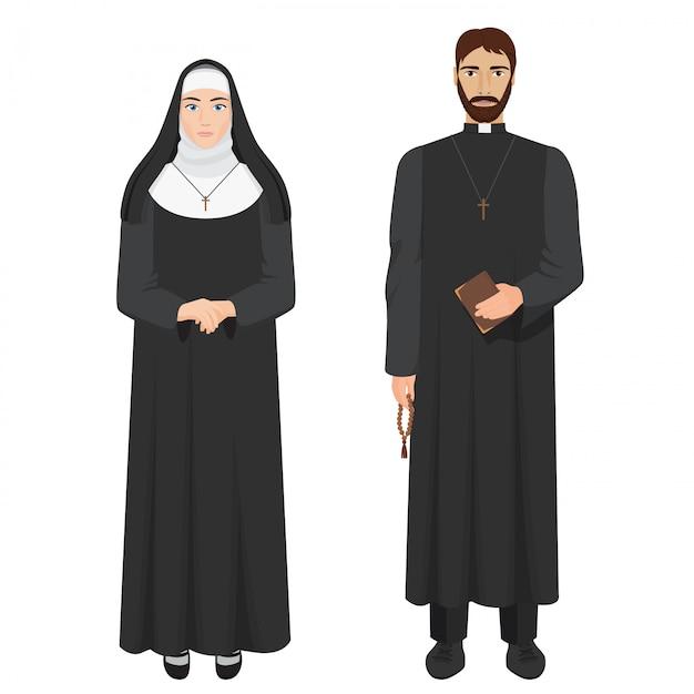 Katholischer priester und nonne Premium Vektoren