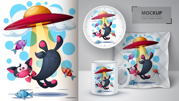 Katze, fisch, ufo-illustration für cup, uhr und kissen Premium Vektoren