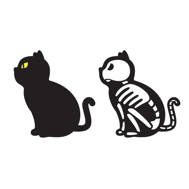 Katze halloween-skelettkarikatur Premium Vektoren