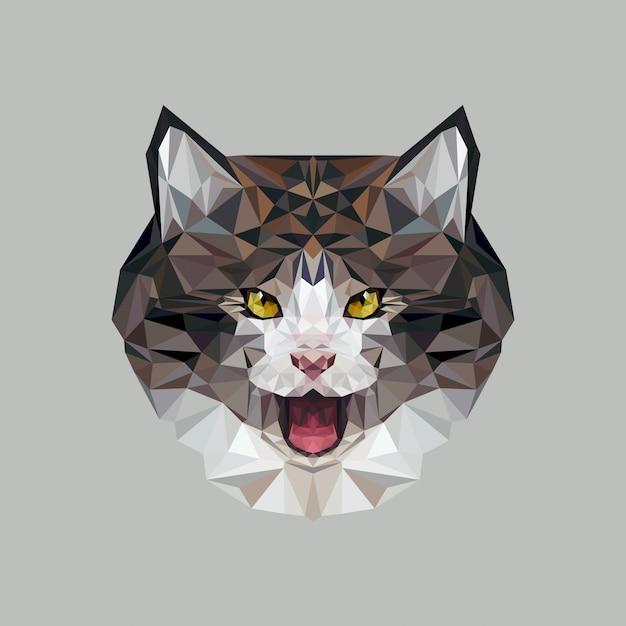 Katze im polygonalen stil. dreieckvektorillustration des tieres für gebrauch als druck auf t-shirt und plakat Premium Vektoren