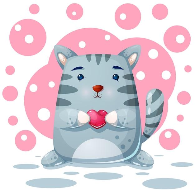 Katze, miezekatze. liebe abbildung Premium Vektoren