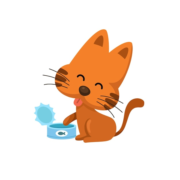 Katze mit futter kann Premium Vektoren