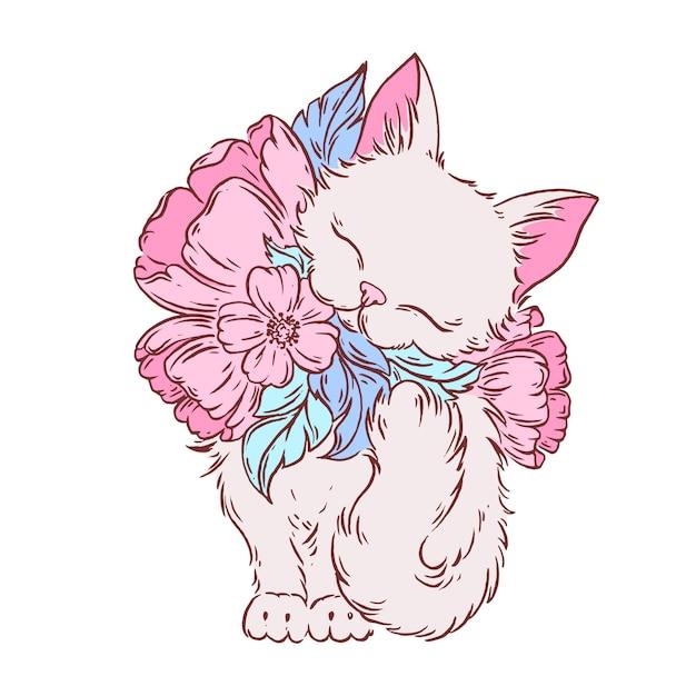 Katze mit gezeichneter illustration der blumen hand. Premium Vektoren