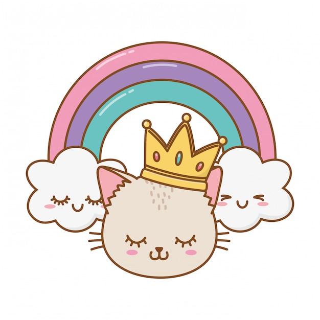 Katze mit krone und regenbogen Premium Vektoren