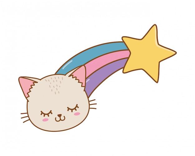 Katze mit sternschnuppe Premium Vektoren