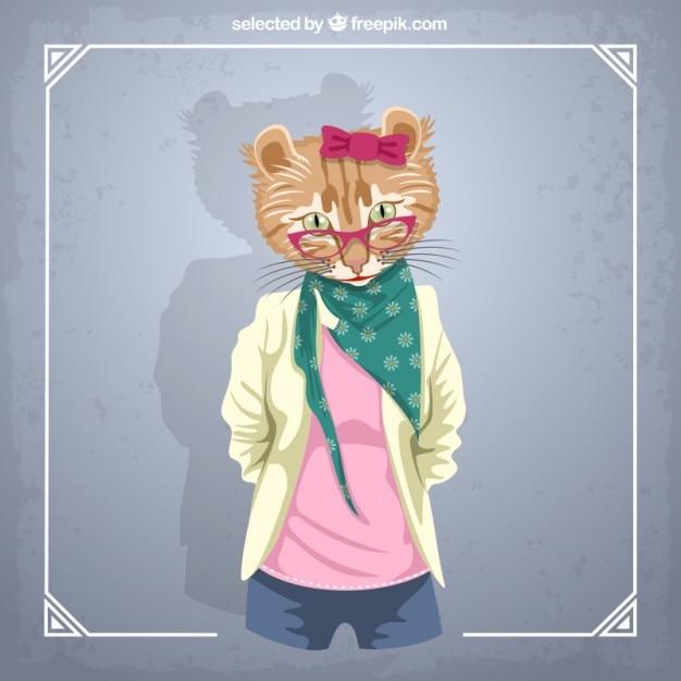 Katze mode-modell Kostenlosen Vektoren