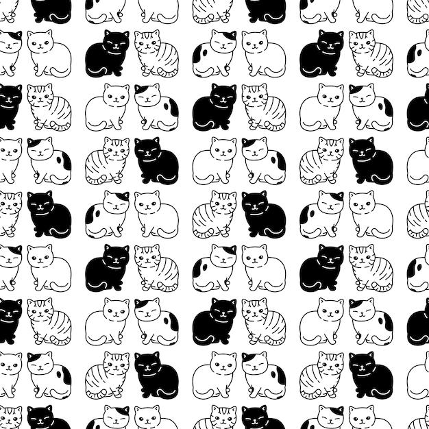 Katze nahtlose muster kätzchen cartoon Premium Vektoren