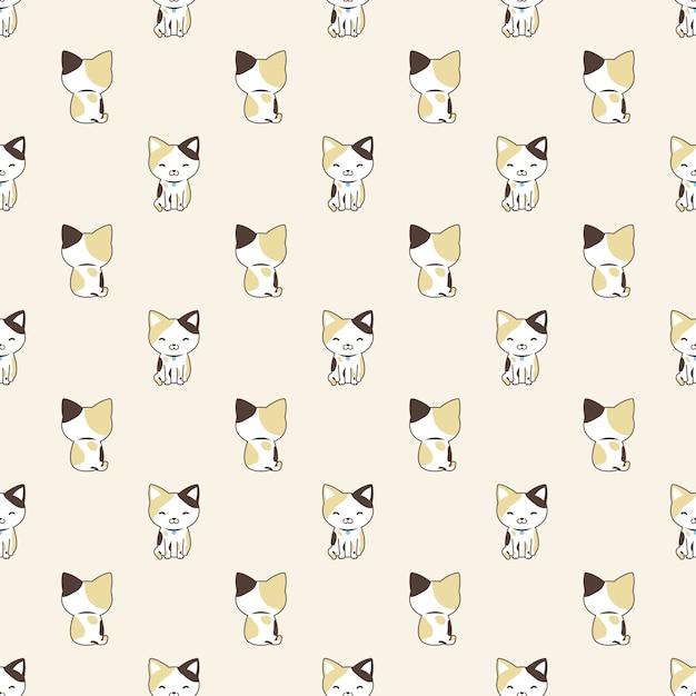 Katze nahtloses muster cartoon kaliko kätzchen illustration Premium Vektoren