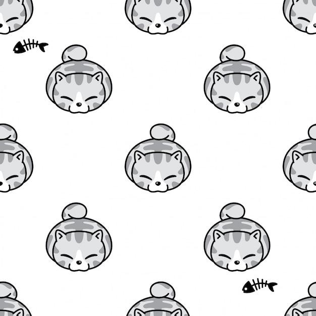 Katze nahtloses muster kätzchen cartoon haustier Premium Vektoren