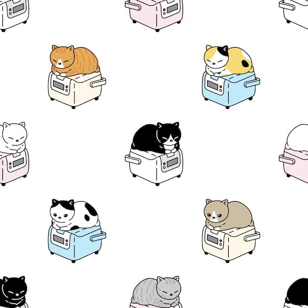 Katze nahtloses muster kätzchen reis kochen cartoon haustier illustration Premium Vektoren