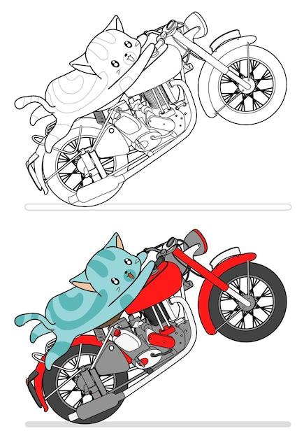 katze reitet motorrad cartoon leicht malvorlagen für