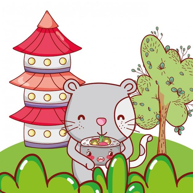 Katze und essen kawaii cartoons Premium Vektoren