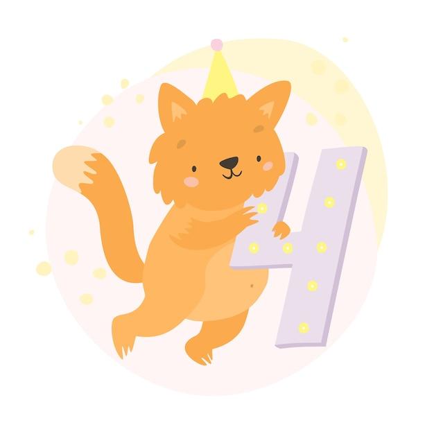 Katze und nummer vier Kostenlosen Vektoren