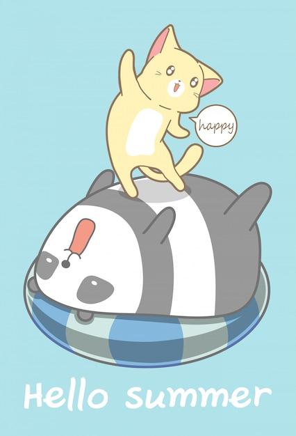 Katze und panda in den sommerferien. Premium Vektoren
