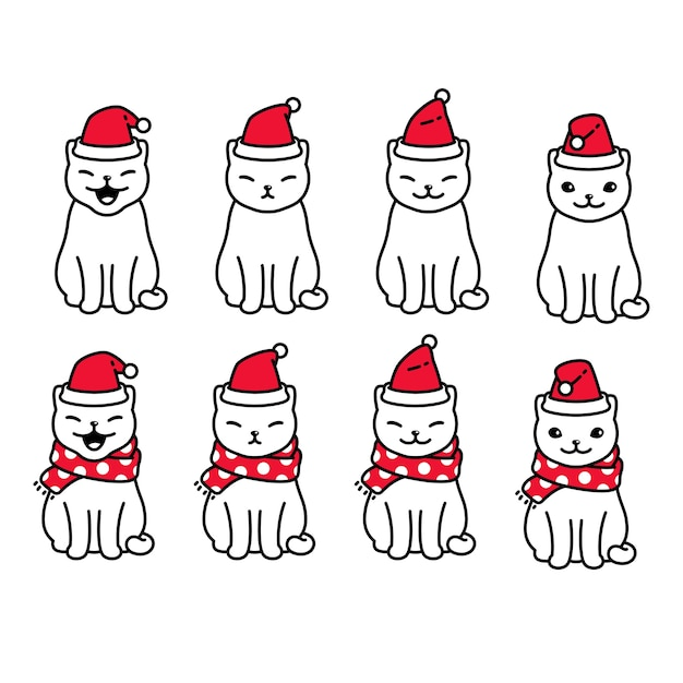 Katze weihnachten charakter cartoon kätzchen illustration Premium Vektoren