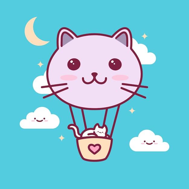 Katzen-ballon kawaii illustration Premium Vektoren