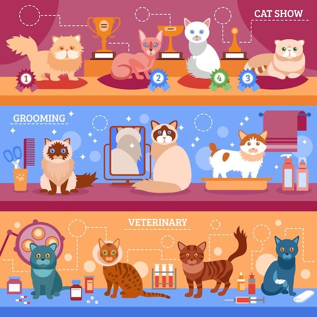 Katzen banner gesetzt Kostenlosen Vektoren