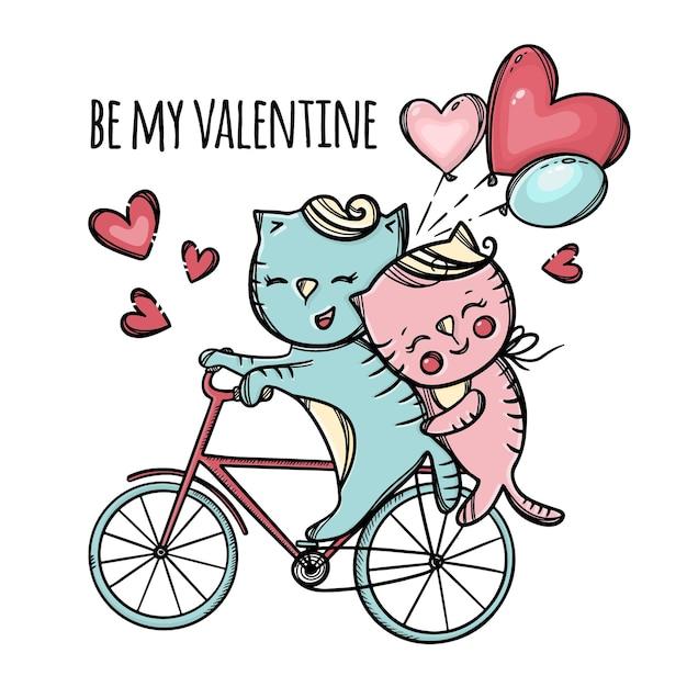 Katzen, die zum valentinstag reiten auf fahrrad pussycat umarmt ihren geliebten und halten luftballons cartoon tiere hand gezeichnet Premium Vektoren