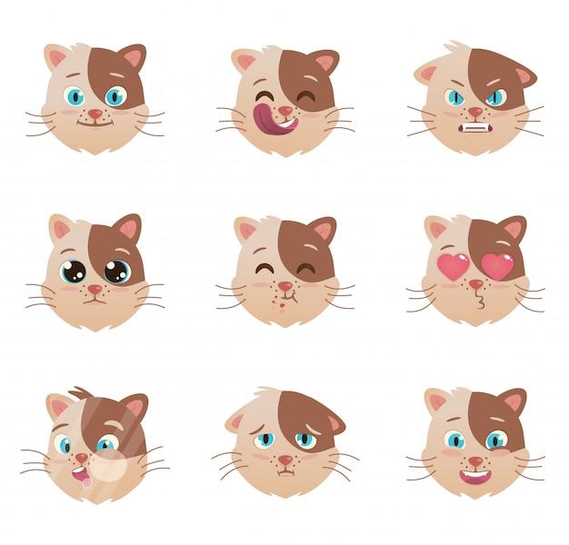 Katzen emotionen charakter Premium Vektoren