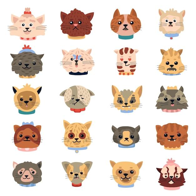 Katzen emotionen. nette lustige kätzchengesichter, haustiercharakterköpfe, gekritzel-hauskätzchenporträtsikonen-illustrationssatz. kitty haustier emotionsgesicht, tierkopf Premium Vektoren