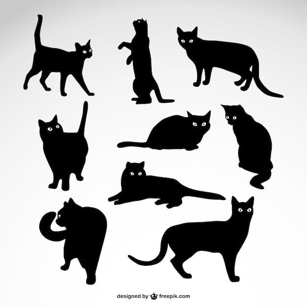 Katzen silhouetten vektor kostenloser download Kostenlosen Vektoren