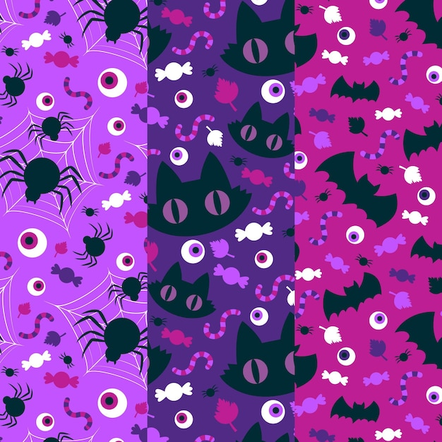 Katzen spinnen und fledermäuse halloween-muster Premium Vektoren