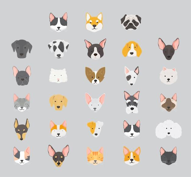 Katzen und hunde icon-sammlung Kostenlosen Vektoren