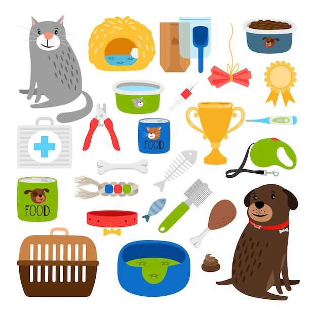 Katzen- und hundeartikel Premium Vektoren