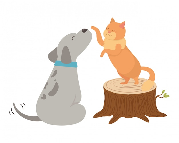Katzen- und hundekarikatur Kostenlosen Vektoren