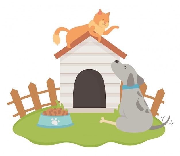 Katzen- und hundekarikaturentwurf Kostenlosen Vektoren
