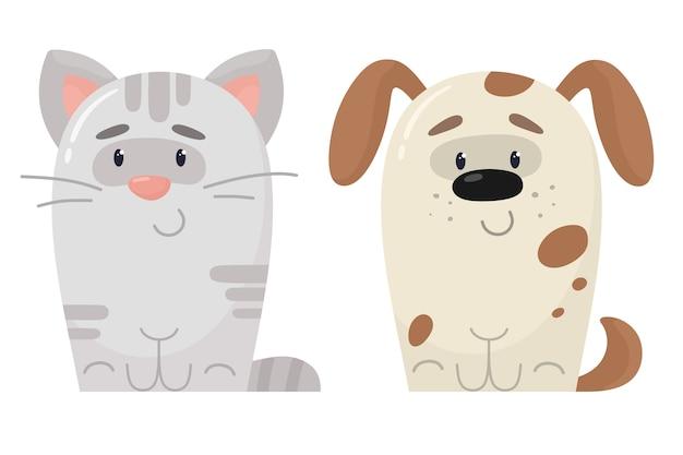Katzen- und hundekarikaturillustration Premium Vektoren
