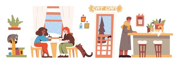 Katzencafé-innenraum mit menschen und haustieren. vector flache illustration des coffeeshops mit kätzchen auf zähler und katzenkletterturm, frauen sitzen am tisch, mann, pflanzen und winterhintergrund hinter fenstern Kostenlosen Vektoren