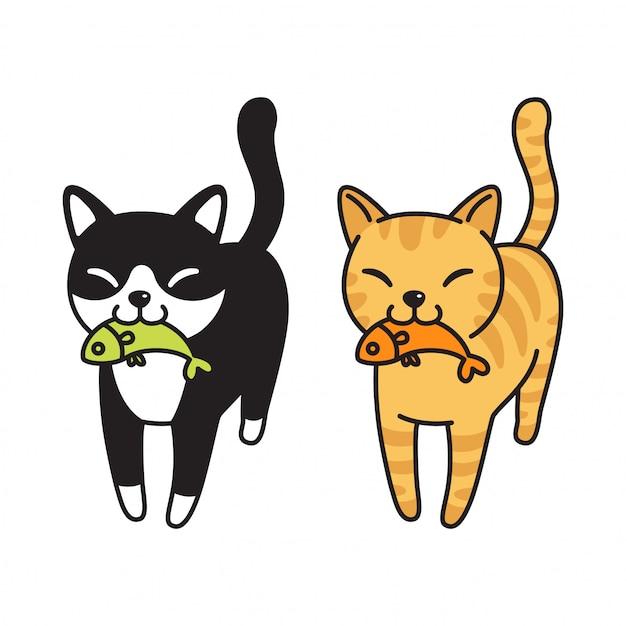 Katzenfisch-cartoon Premium Vektoren