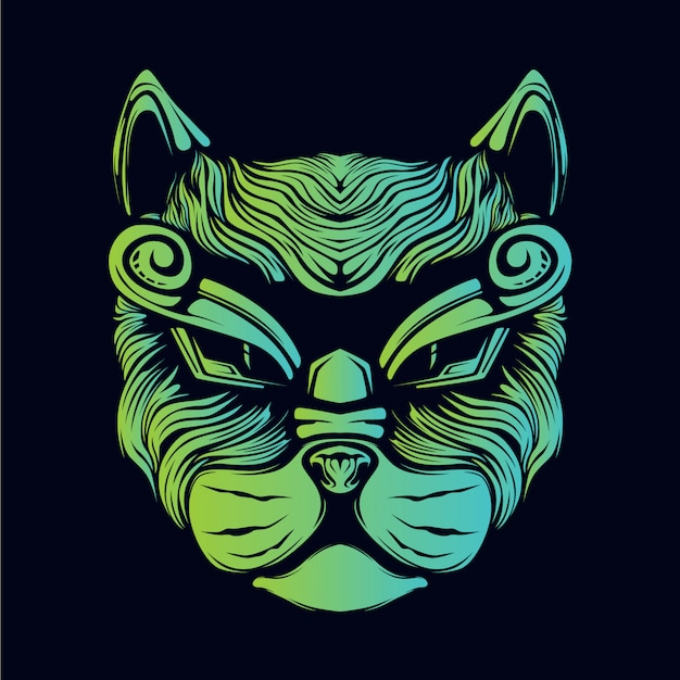 Katzenhauptgrün-glühenillustration Premium Vektoren