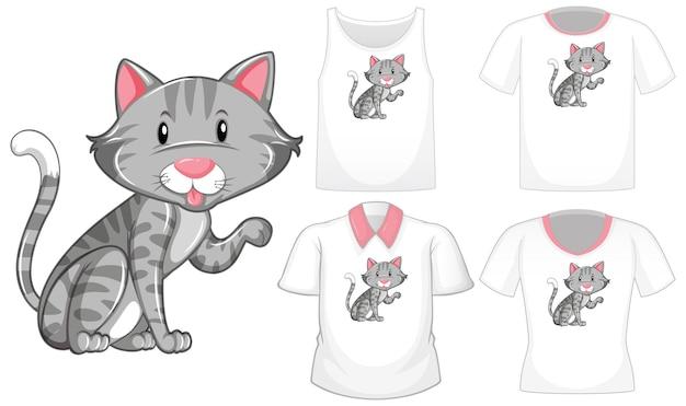 Katzenkarikaturfigur mit satz verschiedener hemden lokalisiert auf weißem hintergrund Kostenlosen Vektoren