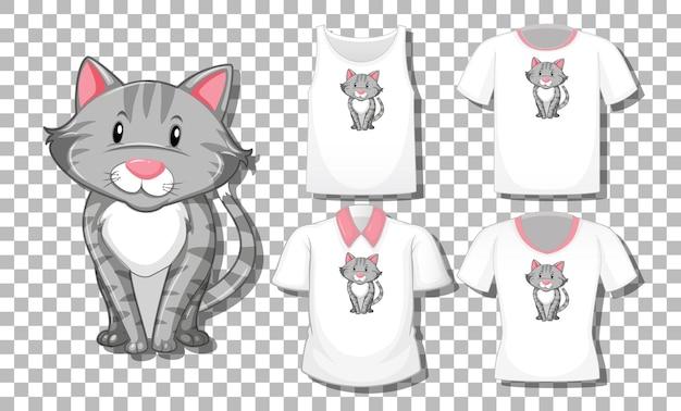 Katzenkarikaturfigur mit satz von verschiedenen hemden lokalisiert auf transparent Kostenlosen Vektoren