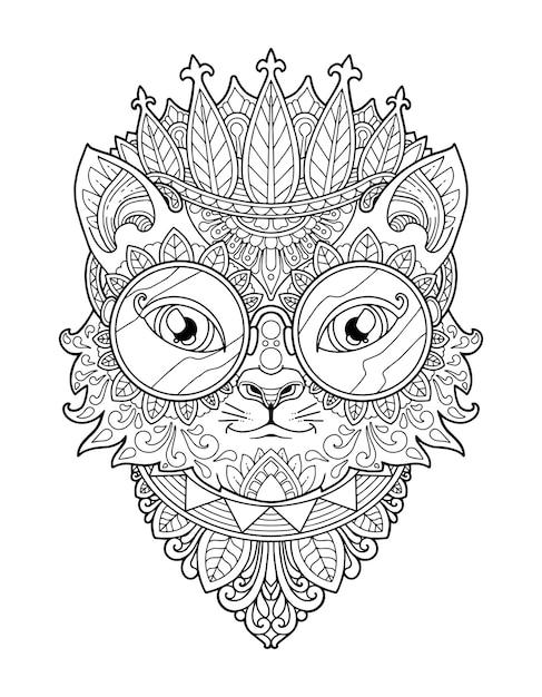katzenkopf malvorlagen mandala design druckdesign