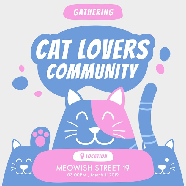 Katzenliebhabergemeinschaft, die jährliche ereigniseinladung erfasst Premium Vektoren